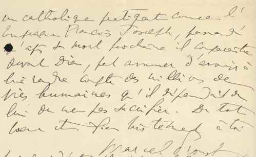 Letter from Marcel Proust to Lionel Hauser, 2 August 1914 (excerpt 3)